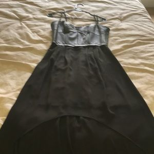 BCBGMaxAzria Dresses - Black high low maxi with leather